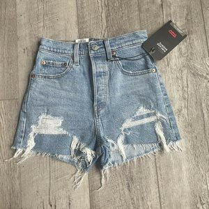 Levis Premium Ribcage High Rise Shorts Light Wash